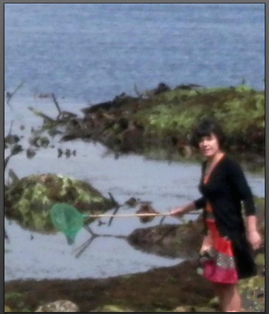Mujer con red en las rocas