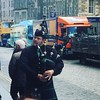 A #scot playing the #bagpipes with an #irnbru lorry driving past. It's like a Scottish calling!! #edinburgh #scotland