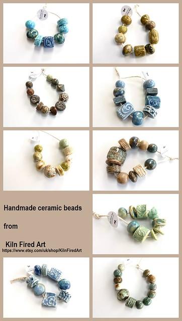 Ceramic beads kiln fired art