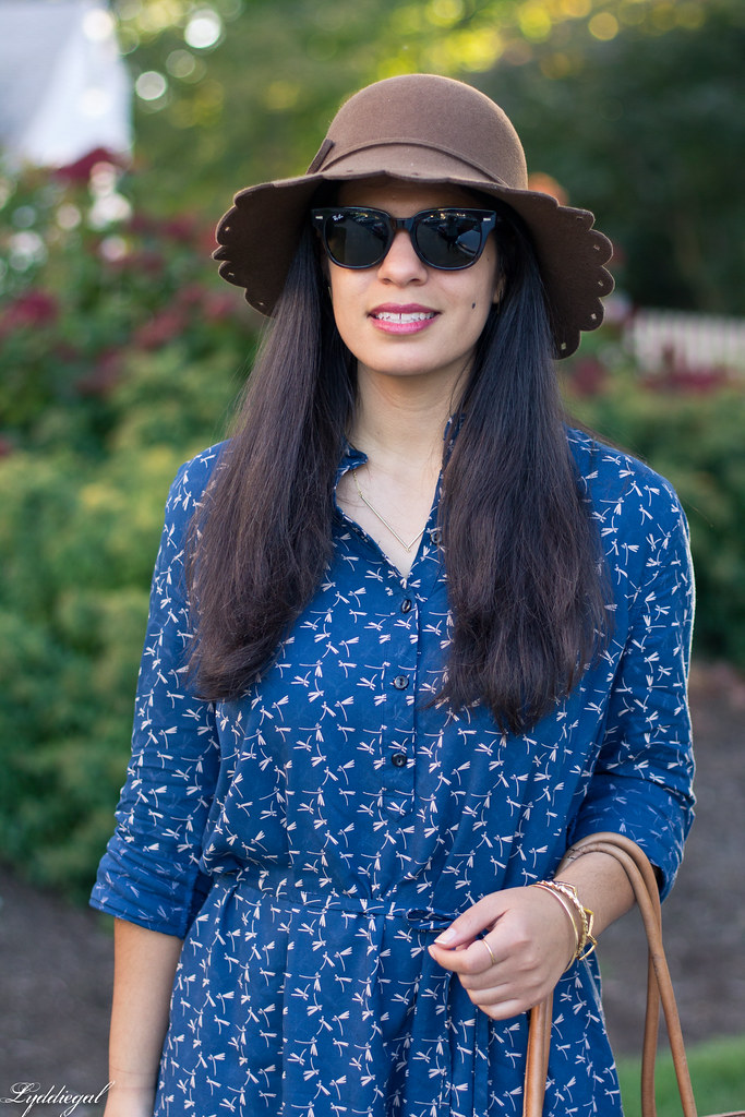 dragonfly print shirt dress, brown tote, scalloped brim hat.jpg