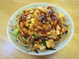 BBQ Tofu Spaghetti