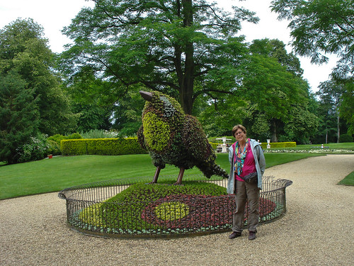 Ineke with feathered friend, Waddesdon Manor