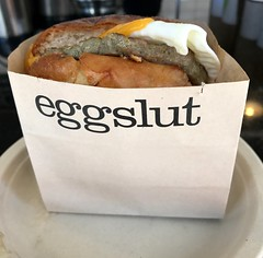 The sausage, egg and cheese sandwich at eggslut in…