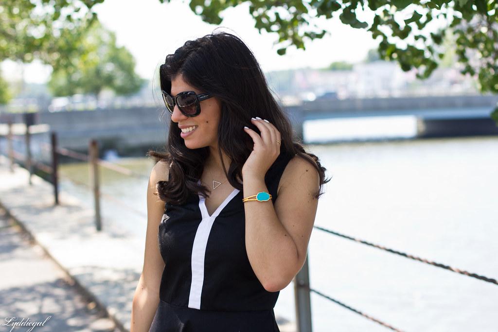 black and white dress, straw tote, jeweled sandals-5.jpg