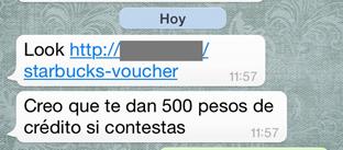 Mensaje phishing en WhatsApp ofrece $500 para Starbucks a cambio de tu información