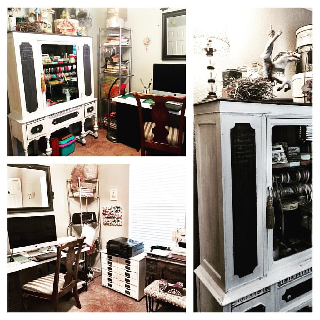 Here is a look at the most part of the studio!  It works out amazing.  All I invested was the paint.  I re-purposed several things. I used black chalk paint as labels so that the drawers can be changed if needed. On the hutch there are two black panels on