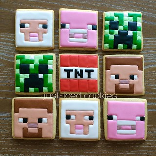 Minecraft Cookies for Henry's Birthday Party! #minecraft #decoratedcookies #creeper #tnt #cookies #partyfavors #birthday
