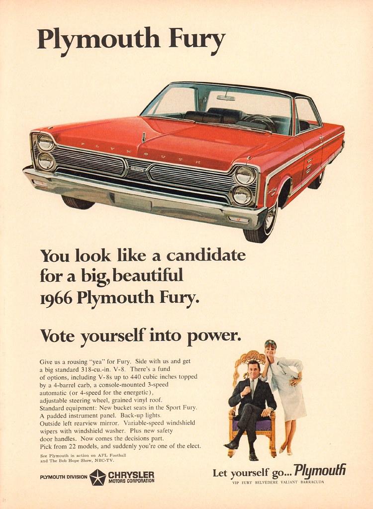 1966 Plymouth Fury Advertisement Newsweek November 1 1965