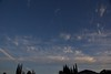 NW view of morning sky, high tropical clouds moving in.