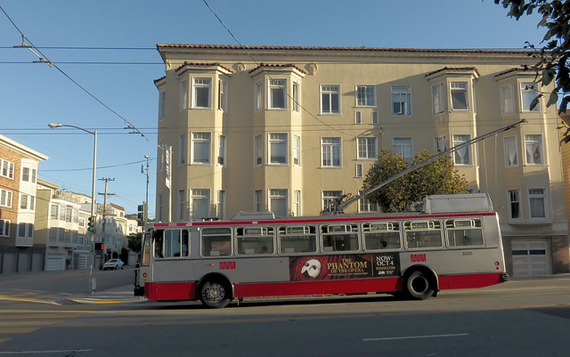 Phantom of the Opera advertisement on the side of a 1 California Muni bus.  The Richmond, San Francisco (2015)