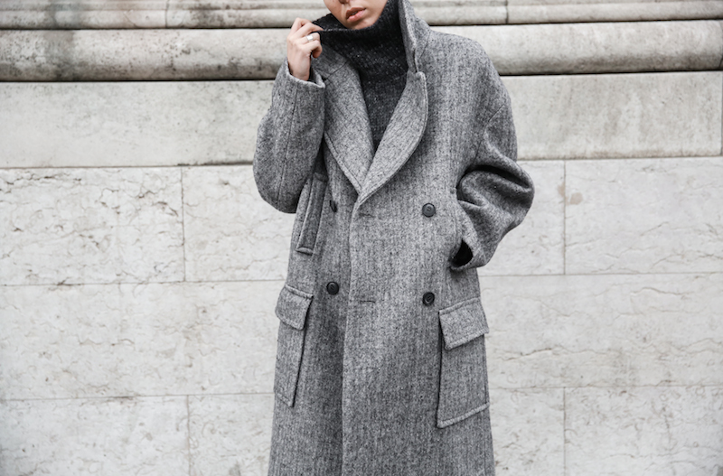winter essentials, all grey, Paris, street style, comfort dressing, oversized coat, turtleneck, MODERN LEGACY x MATCHESFASHION.COM, Raey