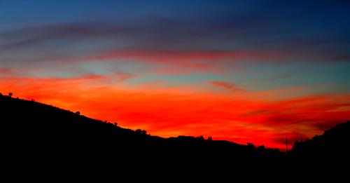 blue sunset shadow red sky orange mountains silhouette night clouds landscape evening greece crete