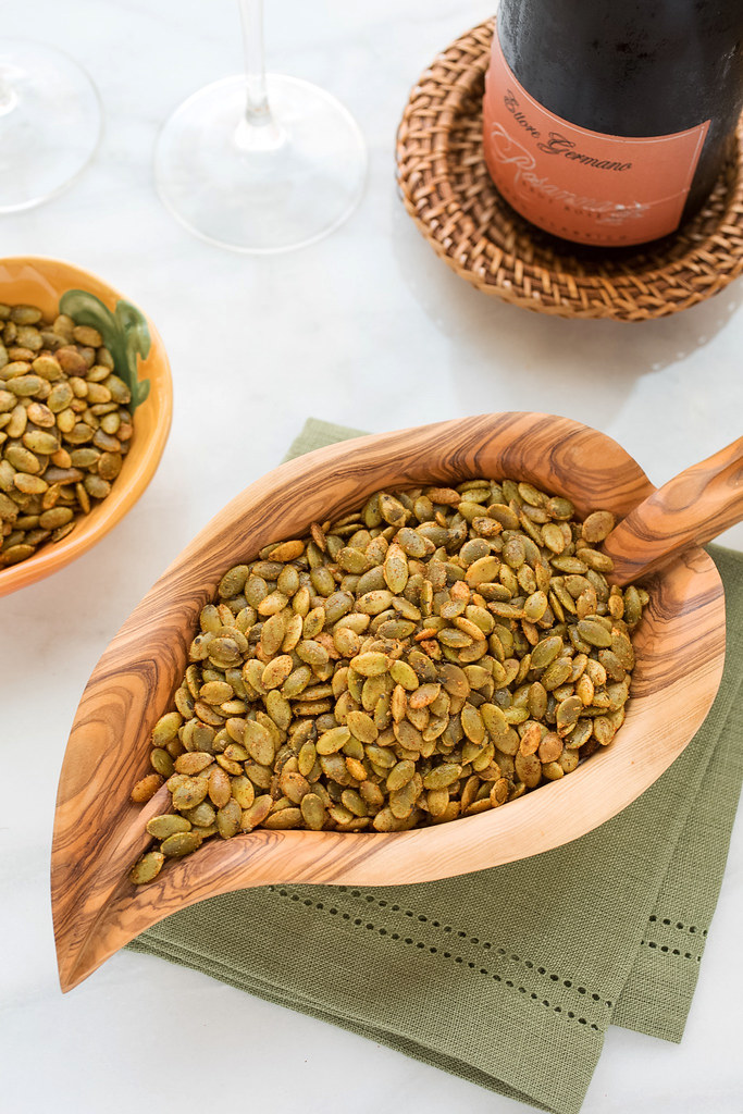 spiced pumpkin seeds in bowl