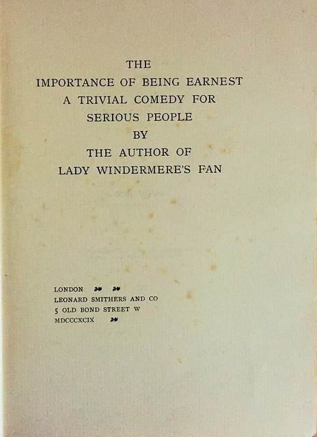 wilde earnest 1899 title page