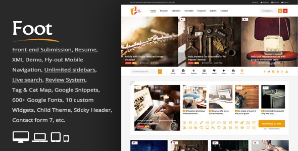 Themeforest Foot v1.9 - Grid Front-End Submission Content Sharing