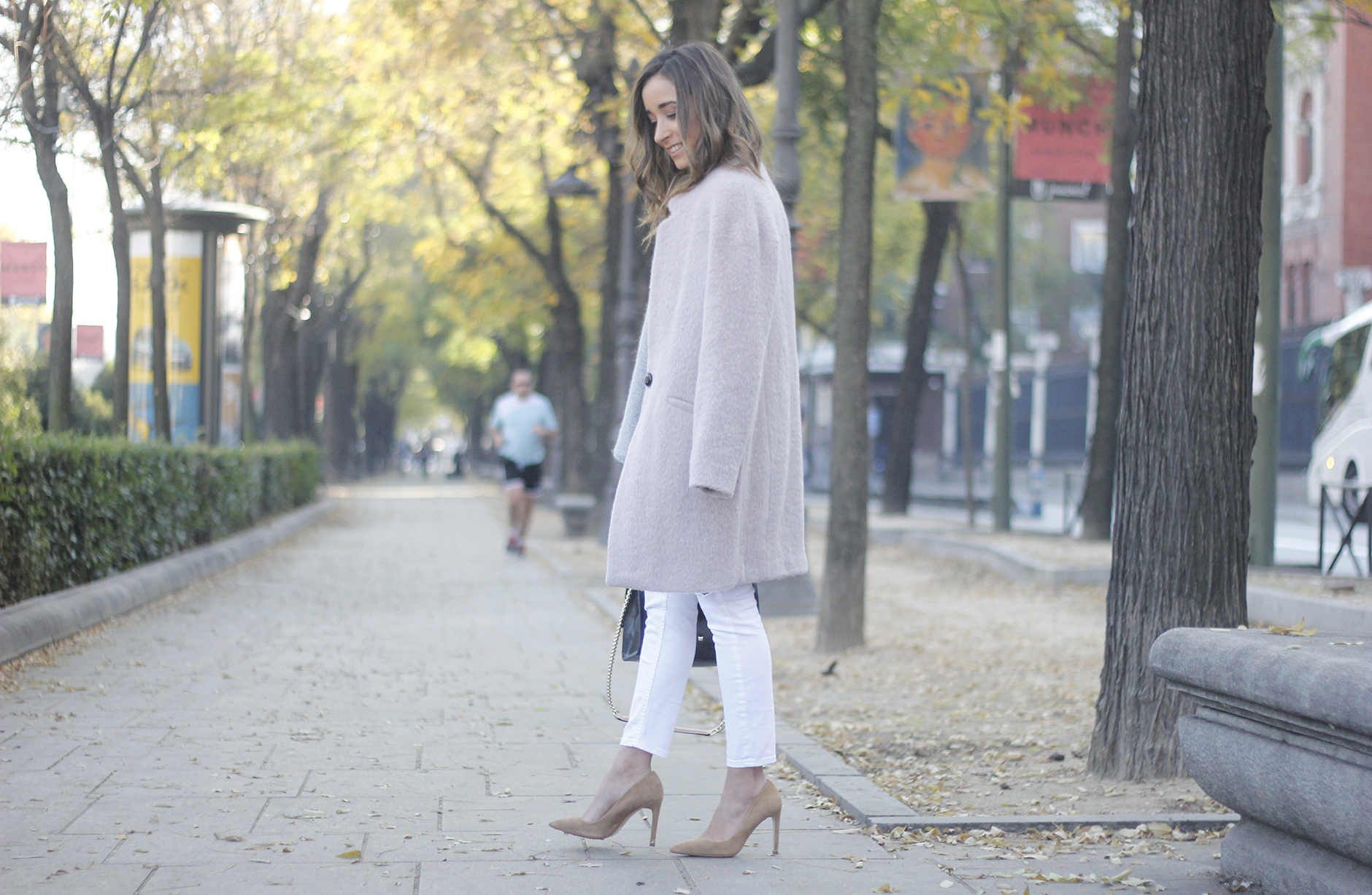 Tintoretto Pink Coat white jeans grey sweater outfit12