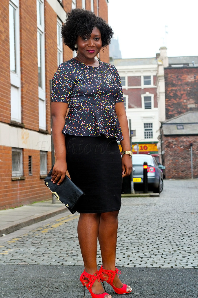 H&M-multi-coloured-polka-dot-peplum-top-&-red-Carvela-Kurt-Geiger-Gridlock-Peep-Toe-Sandal, multi coloured polka dot top, pencil skirt, black skirt, black pencil skirt, black clutch bag, clutch bag, party look, party outfit, curvy women fashion, plus size women fashion, plus size style, curvy women style, curvy women fashion style, peplum tops, polka dot tops, polka dot blouse, plus size fashion, curve size fashion, curve women fashion, plus size fashion, women with curves, how to dress a curve body, curvaceous, curvaceous body, fashion for curvaceous body, red ankle booties