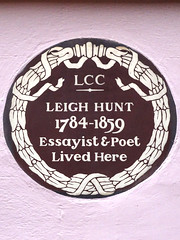 Photo of Leigh Hunt brown plaque