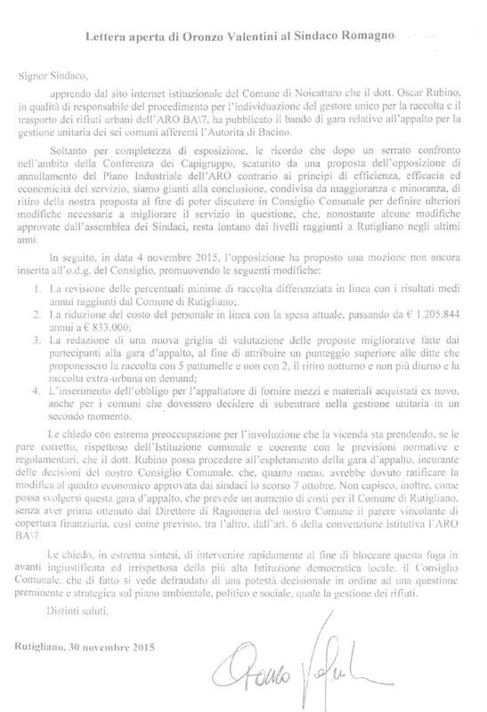 Rutigliano- il consigliere valentini scrive a Romagno Sindaco