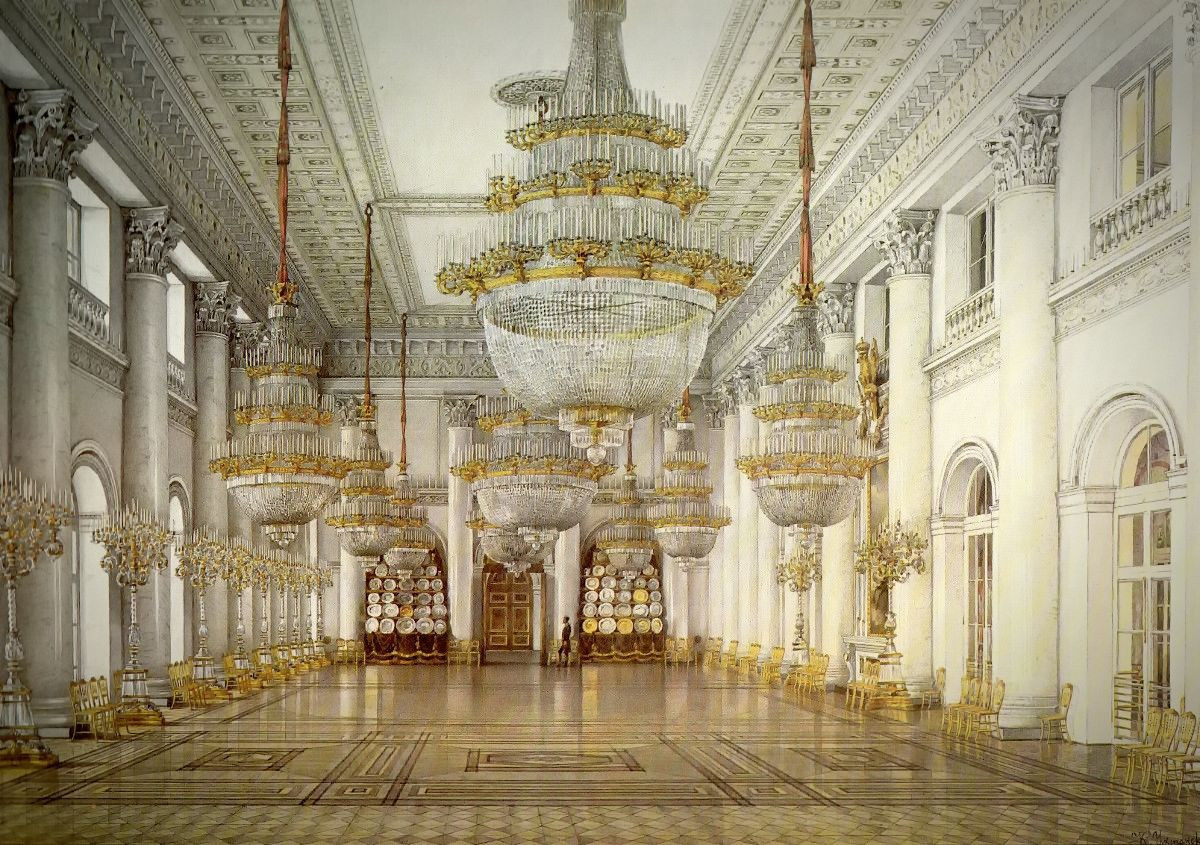 Interiors of the Winter Palace. Nichlas Hall, 1866