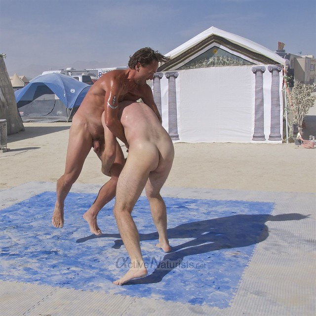 naturist wrestling camp Gymnasium 0015 Burning Man, Black Rock City, NV, USA