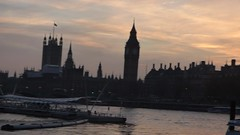 River Thames from the South Bank in London - Westminster sunset - HD video clip