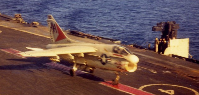 HMS Ark Royal (R09) Operating with USS Forrestal (CV59) - A7 Corsair 158 2B Touch and Go Landing - 1972