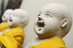 White and yellow statues, Chiang Mai, Thailand