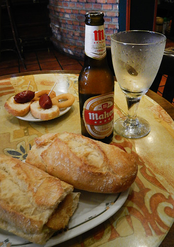 Lunch of bocadillos and beer in Ribadesella, Spain