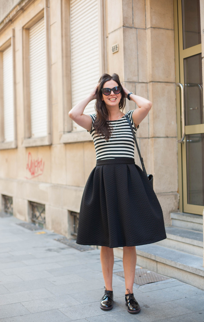 Outfit: Stripes, circle skirt and patent derbies