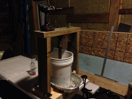 DIY Wine Press in action