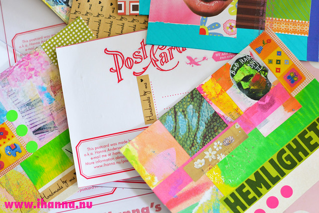 My pile of postcards before sewing the backsides on - an inspirational blog post by iHanna