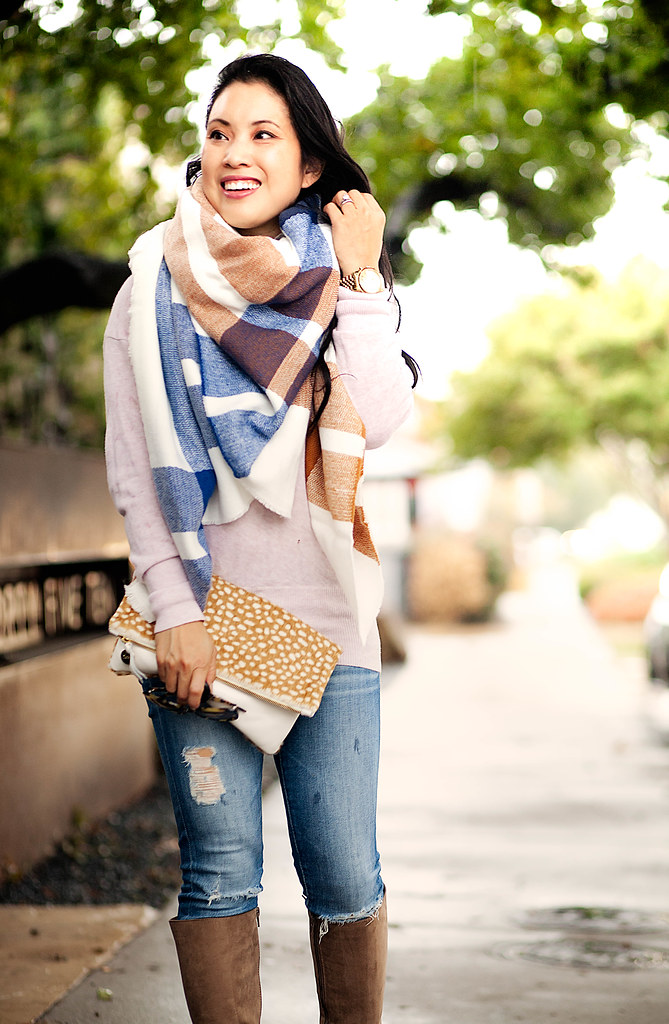 cute & little blog   petite fashion   checkered blanket scarf, pink cowl sweater, ag distressed jeans, taupe suede knee high boots, clare v foldover clutch   fall outfit