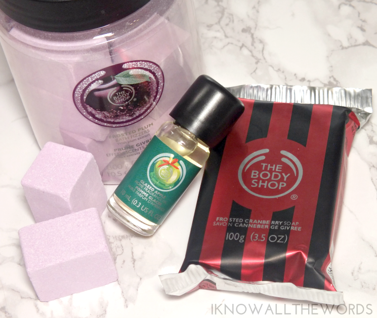 the body shop holiday 2015 frosted sugar plum, frosted cranberry, and glazed apple