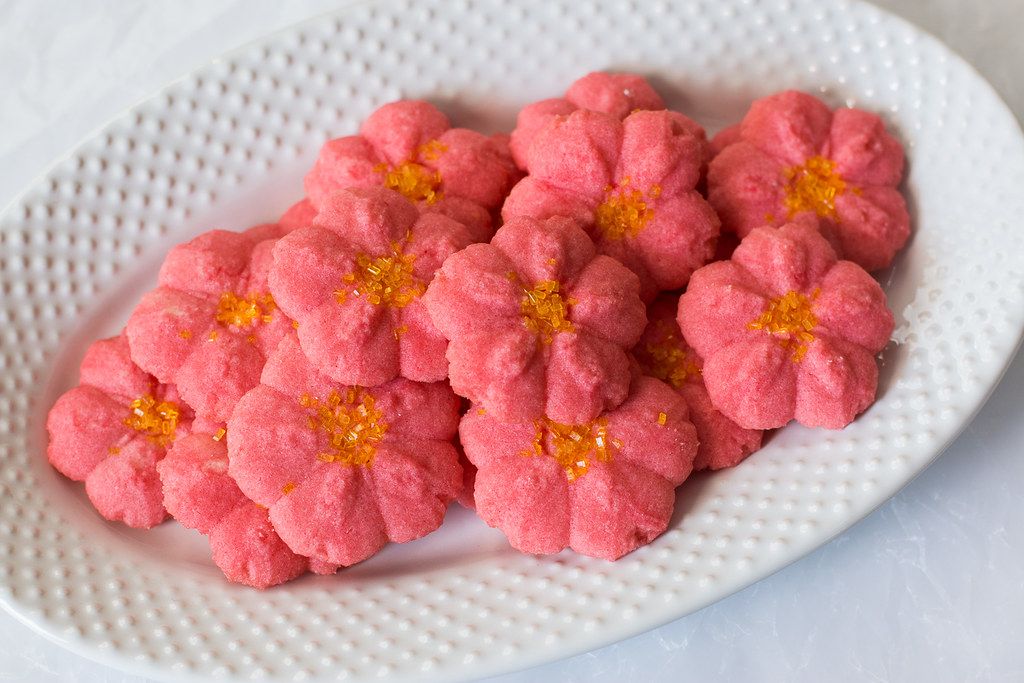 Poinsettia Almond Spritz Cookies are the perfect no-fuss last minute holiday cookie recipe
