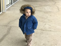 Sawyer is getting the hang of walking with his hands in his pockets
