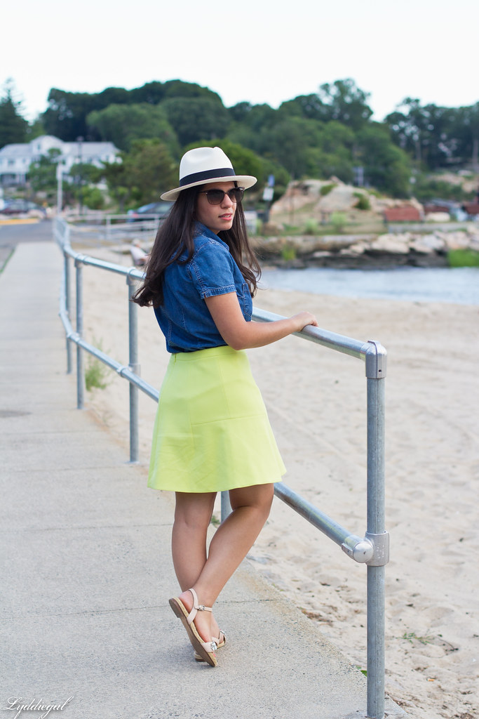 chambray shirt, neon skirt, panama hat-8.jpg