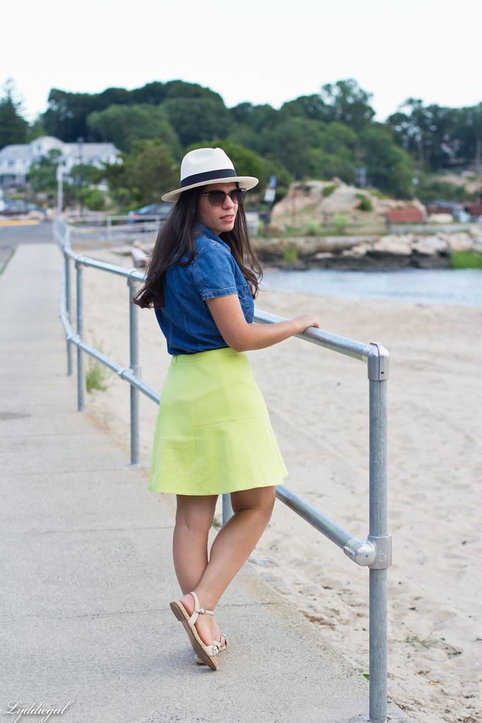 chambray shirt, neon skirt, panama hat-8.jpg