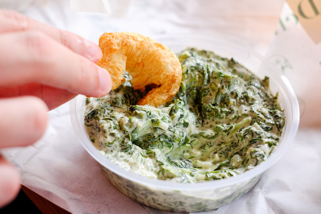 Park Bench Deli: croutons with creamed spinach dip