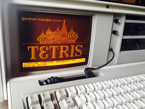 IBM PC 5155 running Tetris DOS game (1984)