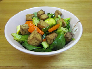 Roasted Tofu and Vegetable Stir-Fry with Garlic-Ginger Sauce