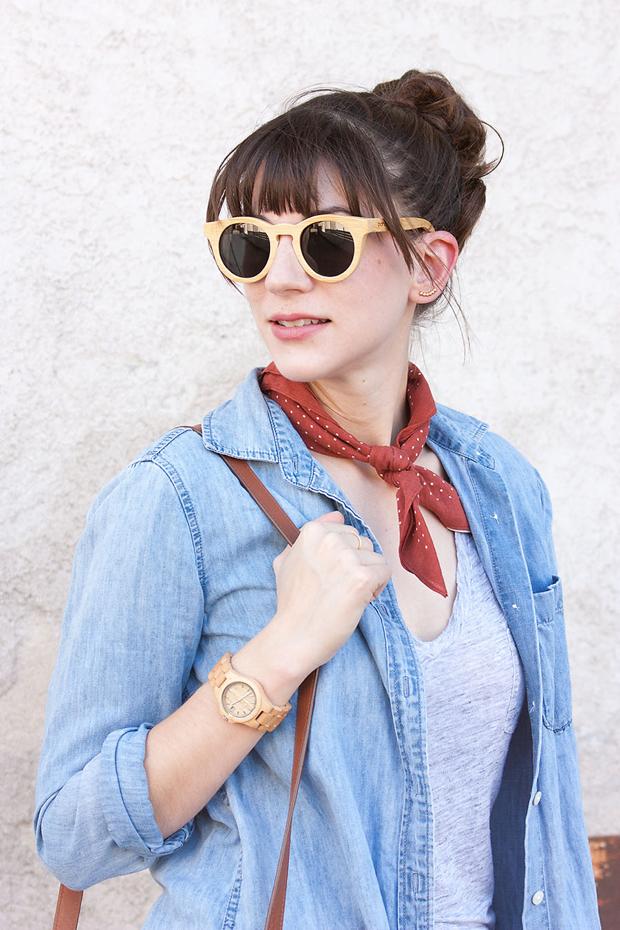 Panda Sunglasses, Red Bandana Scarf, Jord Watch, Chambray Shirt