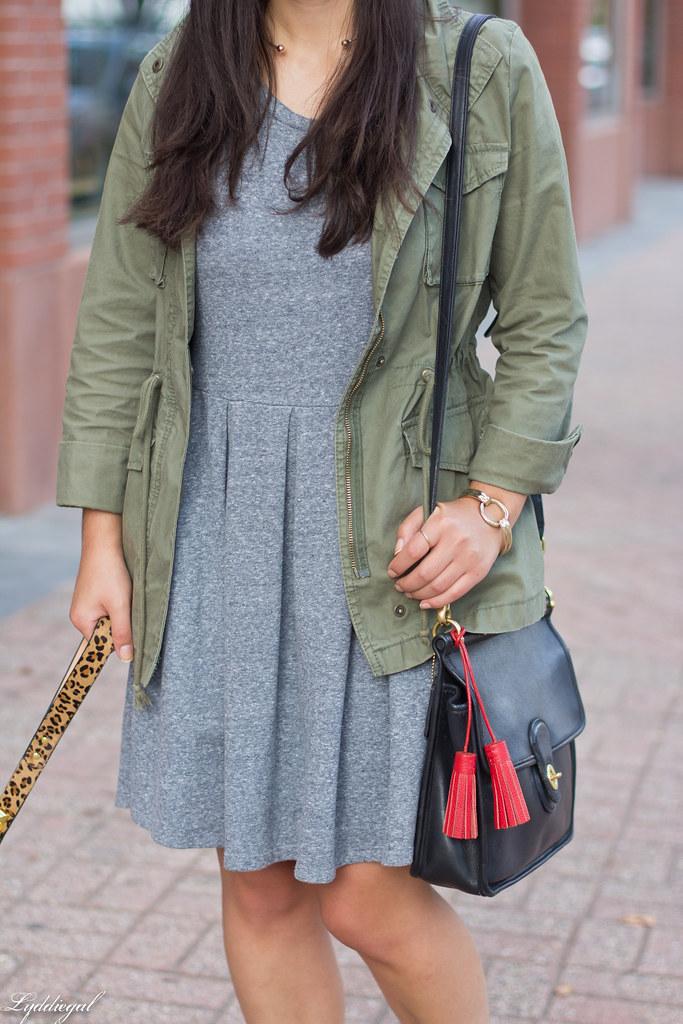 grey sweatshirt dress, field jacket, wool ball cap, dog walking-7.jpg