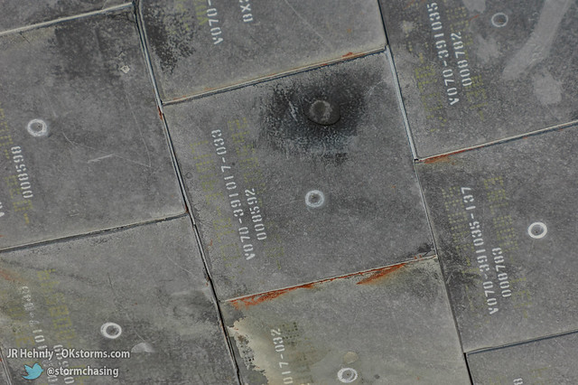 Fri, 11/02/2012 - 14:32 - A close-up of some of the tiles left untouched showing the marks of their recent return from space - November 02, 2012 2:32:41 PM - , (28.5135,-80.6745)
