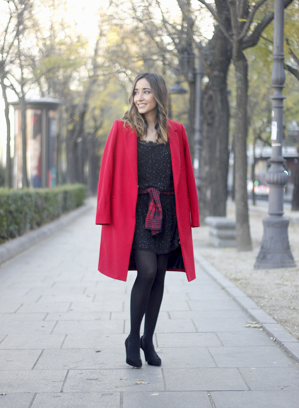 Red Coat With Party Black Dress Mango Outfit Style 01