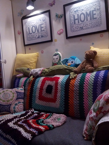 Colourful crochet throws