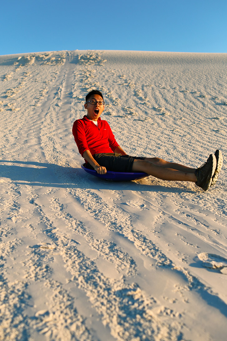 New Mexico White Sands Sledding.