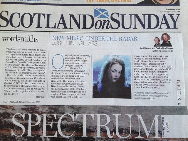 Olaf Furniss and Derick Mackinnon, Scotland On Sunday, Spectrum Magazine, 6 December 2015, Josephine Sillars