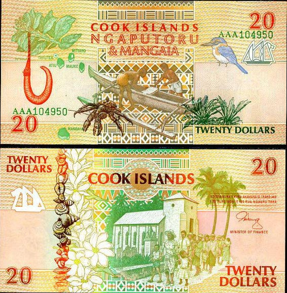 COOK ISLANDS 20 DOLLARS 1992 P 9