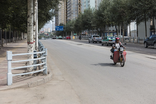 china road street people urban building cars sign asia cityscape motorbike qinghai xining chn sonyrx100iii